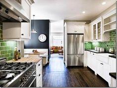 white kitchen with green tile San Francisco Apt Therapy. I love this green tile! Green Kitchen, New Kitchen, Kitchen Ideas, Kitchen Inspiration, Island Kitchen, Kitchen Backsplash, Awesome Kitchen, Backsplash Ideas, Kitchen Redo
