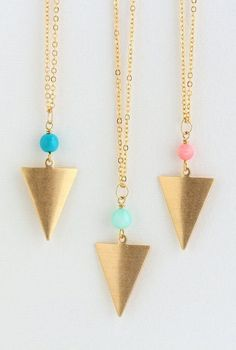 Necklace Brass Triangular Necklace Geometric