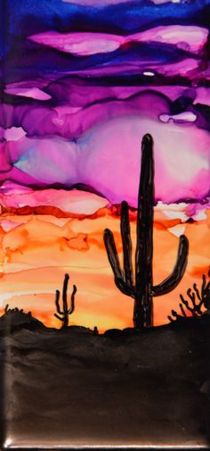 Alcohol ink original magnet cactus sunset purple orange sky desert scene wedding gift art tile by APattonFineArt on Etsy