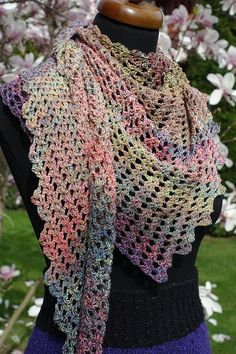 Crochet triangle Scarf, Womens rainbow Shawl, Baktus scarf, Dragon scarf, Gift for her, Mothers Day gift, Spring accessories, Gift for mom #scarves #crochet #handmade #trianglescarf #womenscarf #bobbelscarf #cottonscarf