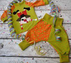 Kinder Set Shirt  Hose Baby Set mit Clown Applikation von BauchArt