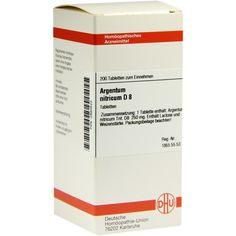 ARGENTUM NITRICUM D 8 Tabletten:   Packungsinhalt: 200 St Tabletten PZN: 02893522 Hersteller: DHU-Arzneimittel GmbH & Co. KG Preis: 10,49…