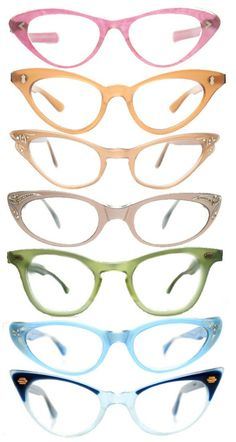 fifties style. glasses. accessories. frames. multicolored.