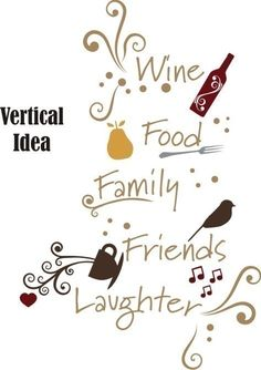 Wall Decal Quote Wine Family Friends Food Laughter - Vinyl Wall Words Stickers Art. $45.00, via Etsy.