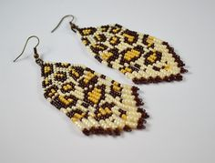 Free Shipping ! Beaded Earrings Native American Style-gift for her-Long Earrings With Fringe-Fringe Dangle Seed Bead Earrings - pinned by pin4etsy.com