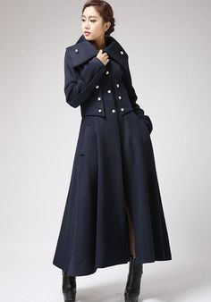 Blue military coat winter dress coat long sleeve coat Cashmere coat (701) on Etsy, $229.00