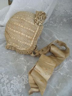 Fabulous Antique French Bonnet with Ribbon and Lace for French Bebe