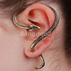 Gothic Rock Punk Temptation Snake Serpent Bite Ear Cuff Wrap Earrings 4 Colors Free Shipping!  - US$1.82