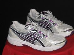 Womens ASICS GEL-Contend Mesh Running Shoes Sz 9 Wht/Purp/Blk #ASICS #Running #yoga #walking