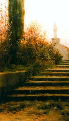 Modest Urgell Inglada (1839 - 1919). Escaleras. Óleo sobre tela. 101 x 60 cm.