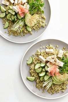 Brown rice salad with green miso dressing