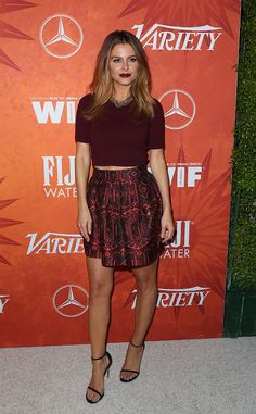 Maria Menounos from Variety & Women in Film 2015 Emmys Party  The E! News personality pairs her berry lips to her chic outfit.