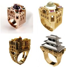 """Little """"dream houses,"""" rings by Philippe Tournaire."""