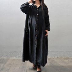 Women autumn and winter cotton linen loose long coat -Buykud ...