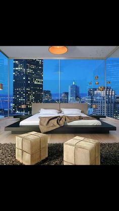Manhattan Penthouse bedroom interior with huge windows. Leather Platform Bed, Manhattan Penthouse, Upholstered Platform Bed, Platform Beds, Modern Platform Bed, Suites, Deco Design, City Living, Pent House