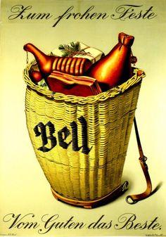 Plakate Niklaus Stoecklin, Affiche original Niklaus Stoecklin, Original Poster Niklaus Stoecklin, title Bell, to joyful celebrations technology Color lithograph Vintage Labels, Vintage Signs, Vintage Ads, Vintage Posters, Vintage Food, Basel, Retro Poster, Magic Realism, Advertising Signs