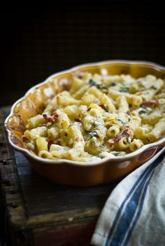 Greek Macaroni & Cheese with Roasted Garlic and Caramelized Leeks