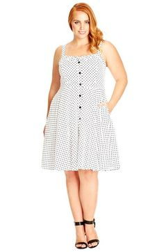 City Chic 'Mod Spot' Fit & Flare Dress (Plus Size) available at #Nordstrom