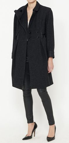 Yves Saint Laurent Charcoal Coat | VAUNTE