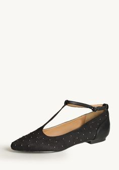 Aspiration Studded T-strap Flats In Black 46.99 at shopruche.com. Perfected with an elegant, adjustable T-strap design, these black faux suede flats feature a pointed toe and tiny pewter-toned studs. Finished with a faux leather back, these chic flats add texture to any outfit.Imported