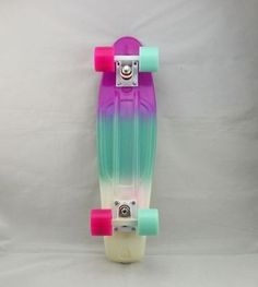 "Rainbow Penny Style Skateboards Board Complete 22"", Pastel Fade-3 color(PBW)P+B"