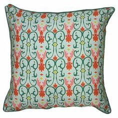 "Cotton satin pillow with a scrolling motif.  Product: PillowConstruction Material: Cotton satin cover and polyester fillColor: Green and orangeFeatures: Insert includedDimensions: 22"" x 22""Cleaning and Care: Dry clean only"