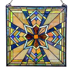 Features:  -Crafted with 181 pieces of hand cut glass.  -Hanging hardware included.  -Kaleidoscope design.  -Hung on a wall or window.  -Fashionable way to add privacy to a window or door.  -Tiffany s