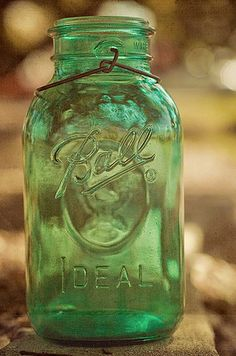 .green mason jar missing its glass reuseable lid #heritagecollection