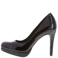 4 inch black shiny heels at Payless shoesource. Pretty cheap too!