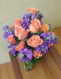 Purple and Orange Flower Arrangement, of roses and stock.  #purpleorangeflowerarrangement #rosestockflowerarrangement #mybouquetlv