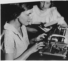 Indianapolis, Marion County, Indiana. Education, blind work. Blind Works Progress Administration (WPA) worker operating braille machine at the Indiana State Library., ca. 1936 - ca. 1942