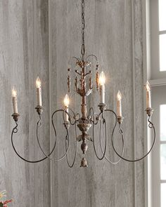 "Chandelier made of steel and polyresin. . Vintage-copper finish. Uses six 60-watt bulbs. Direct wire; assembly and professional installation required. 32""Dia. x 18""T with 5.5""Dia. ceiling canopy. Imported."