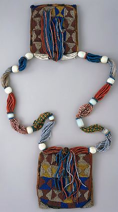 Nigeria | 'Odigba Ifa' - a Ifa Diviner's necklace - from the Yoruba people | Glass beads and cotton | ca. 20th century