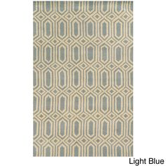 Rizzy Home Julian Pointe Collection Hand-Tufted Wool Accent Rug (5' x 8') (Light Blue/White)