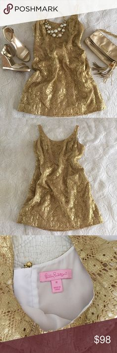 Lilly Pulitzer Gold Lace Eaton Shift Gold Lace Shift Dress, worn a couple times for a few events but is still in great condition! Only selling because I've gone down a couple sizes, and don't want to pay to get it altered🙊😂 Lilly Pulitzer Dresses