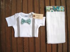 Baby Boy Bow Tie and Suspender Onesie with Burp Cloth, Bowtie Onesie, Bow Tie Onesie, Baby Suspenders, Baby Boy Gift, Baby Boy Gift Set