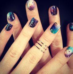 Layer these Galaxy Nail Wraps with the Miss Sunset Strip glitter and you've got a full NCLA look that is out of this world! Get this nail look from the #NYLONshop HERE: http://shop.nylonmag.com/collections/galaxy