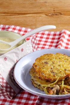 Rezept Kartoffel-Rösti mit Champignons an Kräuter-Knoblauchsauce