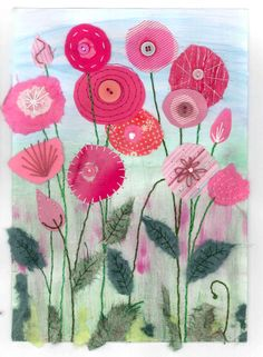 Pretty in pink - Textile mixed media by Christine Pettet Art /christinepettetart Free Motion Embroidery, Free Machine Embroidery, Free Motion Quilting, Embroidery Applique, Fabric Postcards, Fabric Cards, Flower Quilts, Fabric Flowers, Sewing Art
