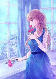 Resultado de imagem para anime girl ngồi bên cửa sổ