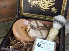 """For Christmas? """"The Art of the Manly Shave"""" - wooden soap dish, handmade beer soap, brush and shave card, all in an upcycled wooden cigar box. - vintage finds and handcrafted soap?"""