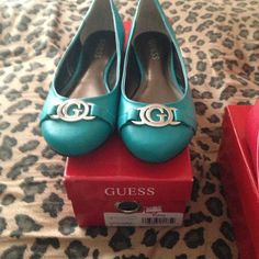 Turquoise guess flats brand new Size 6 also come in pew and red red no longer available Guess Shoes Flats & Loafers