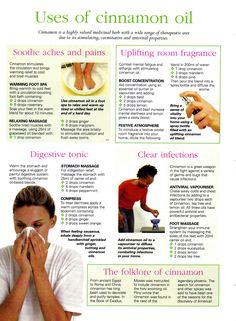 Herbs:  Uses of #Cinnamon #Oil.  www.fb.com/AllAboutUMassage #abumassage #AllAboutUMassage