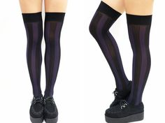 Vertical Striped Pastel Goth Thigh high Stockings- Purple&Black