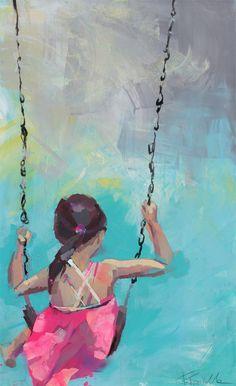 Schwerelos - Acryl on canvas - 70x120 cm - Girl on swing - Schaukelnde Kinder - Kunst Malerei Kinder - kids art painting by TamaraTavellaArt