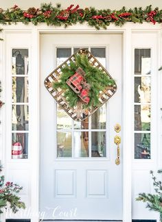 Christmas wreath created with a tobacco basket, greenery and a pair of plaid ice skates #christmas #christmaswreath #christmas decor