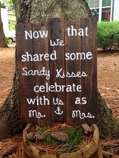 ||| I would prefer salty kisses, rather than Sandy kisses||| Large Rustic Beach Wedding Sign 17x23; Beach Wedding -- perfect way to welcome your guest to your wedding reception!