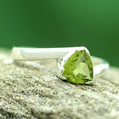 Solitaire Peridot Ring Crafted in Sterling Silver - Scintillating Jaipur | NOVICA