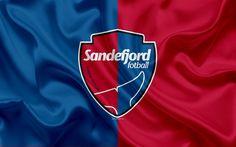 Download wallpapers Sandefjord FC, 4k, Norwegian football club, emblem, logo, Eliteserien, Norwegian Football Championships, football, Sandefjord, Norway, silk flag
