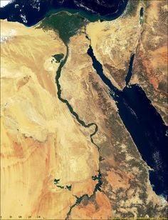 Egypt from Space. Climate: desert; hot, dry summers with moderate winters. Terrain: vast desert plateau interrupted by Nile valley and delta. Natural resources: petroleum, natural gas, iron ore, phosphates, manganese, limestone, gypsum, talc, asbestos, lead, rare earth elements, zinc. Natural hazards: periodic droughts; frequent earthquakes; flash floods; landslides; hot, driving windstorms called khamsin occur in spring; dust storms; sandstorms.